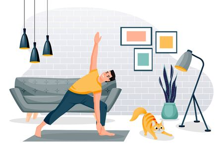 Guy stands in triangle pose trikonasana. Home yoga exercise practice. Man and red cute cat training in modern loft room. Vector characters illustration. Healthy lifestyle and relaxing time at home  イラスト・ベクター素材
