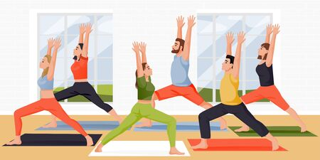 People stand in warrior one pose virabhadrasana. Women and men practicing yoga meditation with instructor in studio. Vector flat cartoon characters illustration. Active lifestyle, fitness yoga class