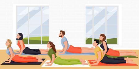 People doing cobra pose bhujangasana. Women and men practicing yoga and meditation with instructor in studio. Vector flat cartoon characters illustration. Active lifestyle, fitness and yoga class