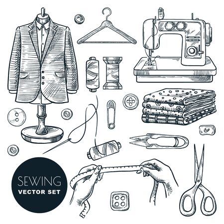Tailored fashionable mens suit. Sewing tools and tailor equipment set, isolated on white background. Vector hand drawn sketch illustration. Craft business of making clothes industry  イラスト・ベクター素材