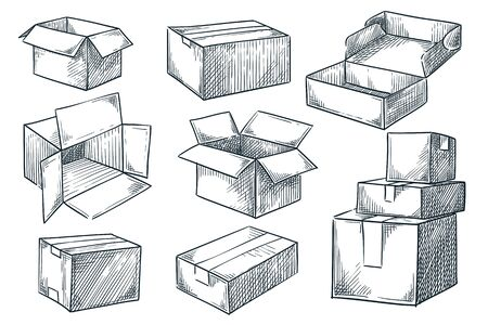 Cardboard boxes set. Closed and open empty postal packages collection. Vector hand drawn sketch illustration. Pile of carton mailboxes, isolated on white background Vettoriali