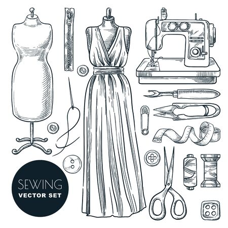 Tailored evening dress for women. Sewing tools and tailor equipment set, isolated on white background. Vector hand drawn sketch illustration. Craft business of making trendy clothes industry