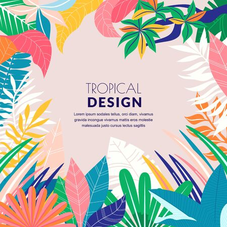 Summer tropical abstract background. Vector flat cartoon illustration. Hand drawn doodle palm leaves frame. Jungle nature banner, poster, greeting card design template Ilustração