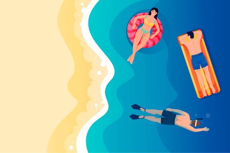 Young woman and men swimming and snorkeling in sea or ocean. Vector flat top view illustration. Cartoon people characters on beach. Summer holiday travel and vacation at resort concept Ilustração