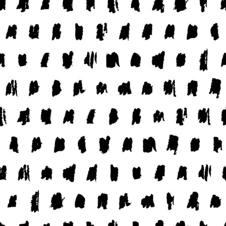 Watercolor abstract brush strokes, blots, stains, vector black white seamless pattern. Dry brush art ink texture background. Hand drawn fabric design, wrapping paper, trendy fashion textile print Banco de Imagens - 150164215