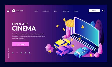 Open-air car night cinema. Vector 3d isometric illustration in neon gradient. Automobiles parked in front of large movie screen. Outdoor leisure and fun. Film festival, events, entertainment concept