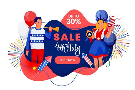 4th of July poster, discount sale banner design template. USA Independence Day celebrating. Vector illustration. Happy people in american flag colors patriotic costumes on blue background