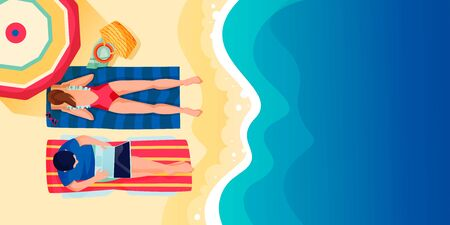 Young couple on beach, vector flat cartoon top view illustration. Woman lying on sand and reading book. Man freelancer works on laptop. Summer holiday travel and vacation at resort concept