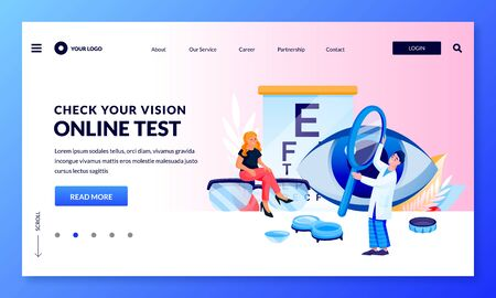 Eyesight check and eye care banner design template. Doctor and patient do vision test. Vector flat cartoon characters illustration. Ophthalmologist consultation concept