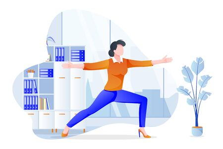 Businesswoman manager stands in warrior pose virabhadrasana. Office yoga 5-minute break. Woman meditating in modern cabinet. Vector character illustration. Healthy lifestyle and relaxing time at work