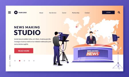 News making, television studio workflow. TV breaking news broadcasting, vector illustration. Man media broadcasters and cameraman with camera at work. Media show, live events, entertainment concept