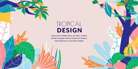 Summer tropical abstract horizontal frame background. Vector flat cartoon illustration. Hand drawn colorful doodle palm leaves. Jungle nature banner, poster, greeting card design template Ilustração