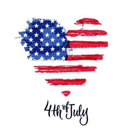 Happy 4th of July, USA Independence Day. Vector illustration. Hand drawn calligraphy lettering and american watercolor flag in heart shape. Holiday print, banner, poster, greeting card design elements
