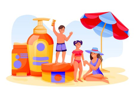 Young mother and two kids use sunblock cosmetic. Summer face and body solar protection care concept. Vector flat cartoon family characters illustration. Beach skincare, sunscreen cosmetics packaging.