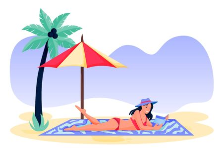 Woman lying on sand and reading book. Young girl in red bikini on beach. Vector flat cartoon character illustration. Summer holiday travel and vacation at resort concept