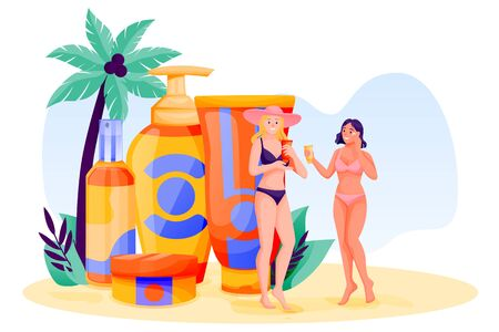 Young women use sunblock cosmetic. Summer face and body solar protection care concept. Vector flat cartoon girls characters illustration. Beach skincare, sunscreen cosmetics packaging