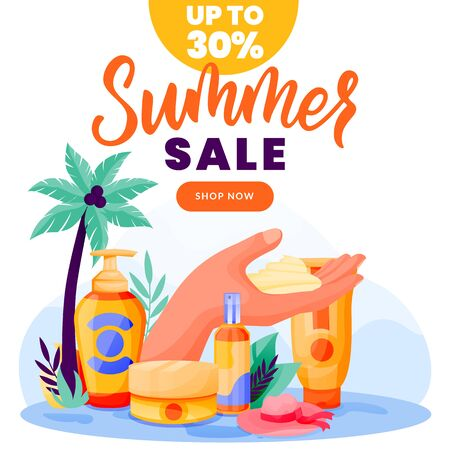 Sunblock and summer cosmetic sale banner, poster design template. Vector flat cartoon illustration of sunscreen packaging on palm beach background. Face and body care cream and spray