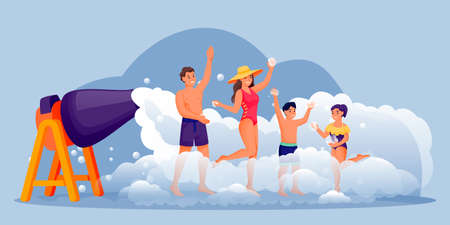 Family with two kids dancing on foam beach party. Happy people have fun vacation. Vector flat cartoon characters illustration. Man, woman, boy and girl in bikini and swimwear enjoying summer holiday
