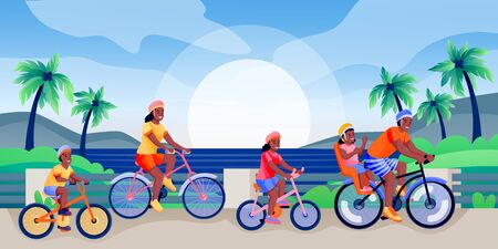 African american family with three children rides bicycles. Father, mother, boy, girl have summer cycling trip. Vector flat cartoon characters illustration. Family sport activities, leisure lifestyle