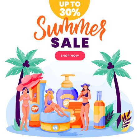Young girls use sunblock cosmetic. Face, body solar protection in summer time. Vector women characters illustration. Beach skincare, sunscreen cosmetics packaging. Skin care and youthfulness concept Çizim