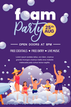Foam party in beach club, poster banner invitation design template. Happy people dance on night disco. Family with three kids have fun summer vacation. Vector flat cartoon characters illustration