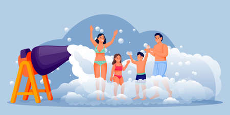 Happy people on foam club party. Family with two kids have fun vacation. Vector flat cartoon characters illustration. Man, woman, boy and girl dancing, jumping and enjoying summer holiday Ilustração