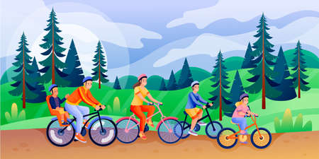 Happy family with three children rides bicycles. Father, mother, boy, girl have spring or summer cycling trip. Vector flat cartoon characters illustration. Family sport activities, leisure lifestyle