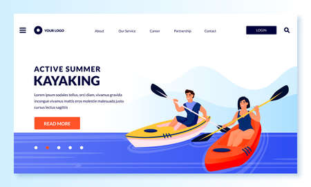 Young couple kayaking. Vector flat cartoon people characters illustration. Summer outdoor leisure activities and extreme sport. Man and woman with oars floating in kayaks