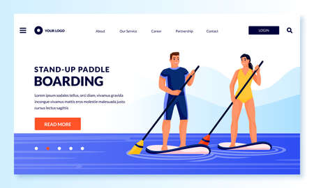 Young couple standing on paddle boards. Vector flat cartoon people characters illustration. Summer outdoor fitness, leisure activities and sport lifestyle. Man and woman floating on sup boards in sea