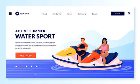 Young couple on jet ski. Vector flat cartoon people characters illustration. Summer outdoor leisure activities and extreme sport. Man and woman rides water scooter