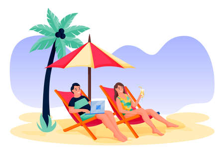 Young couple on tropical beach. Girl with cocktail, guy freelancer works on laptop. Vector flat cartoon man and woman characters illustration. Summer holiday travel and family relax vacation at resort