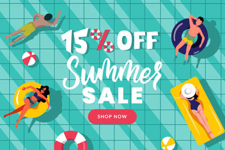 Summer sale banner design template. People swim in swimming pool, top view vector flat cartoon illustration. Season discount poster. Hand drawn calligraphy lettering on blue water background