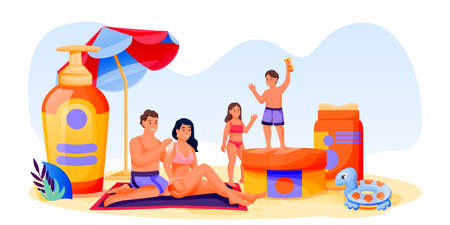Family with kids use sunblock cosmetic. Father, mother, son, daughter sunbathing on beach. Summer face and body solar protection concept. Vector illustration of skincare sunscreen cosmetics packaging