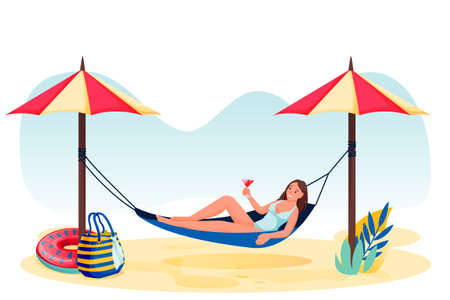 Young woman with cocktail in hammock on beach. Vector flat cartoon character illustration. Relaxed girl isolated on white background. Summer holiday travel and vacation at tropical resort