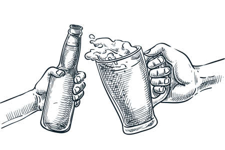 Human hand cheers with beer glass and bottle. Vector hand drawn sketch illustration, isolated on white background. Octoberfest beer festival or holiday party design elements