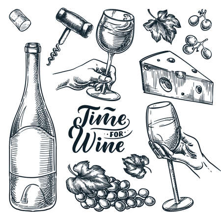 Time for wine vector hand drawn sketch illustration. Human hand holding wine glass. Bottle, cheese, grape vine, cork, corkscrew, isolated on white background. Doodle vintage design elements set