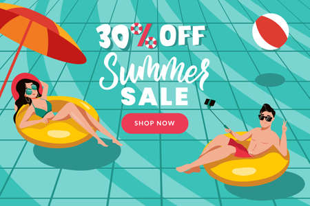 Man and woman swim on inflatable yellow rings in swimming pool. Flat cartoon vector characters illustration. Summer sale banner design template. Season discount poster with blue water background