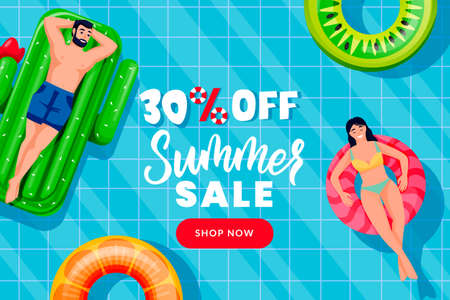 People swim on inflatable ring and mattress in swimming pool, top view vector illustration. Summer sale banner design template. Season discount poster with blue water background Ilustração