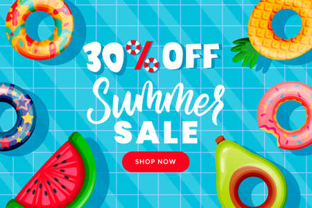 Summer sale banner design template. Inflatable floating colorful toys in swimming pool. Hand drawn calligraphy lettering on blue water background. Season discount poster. Vector illustration.