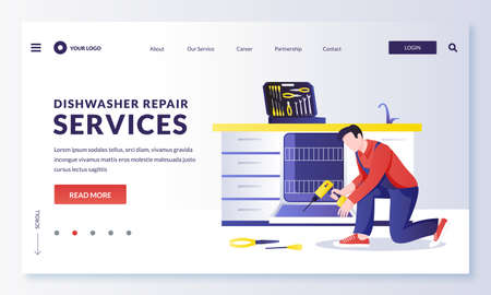 Dishwasher machine repair service. Mechanic or plumber worker fixes kitchen electrical equipment. Vector flat cartoon character repairman illustration. Home maintenance services concept