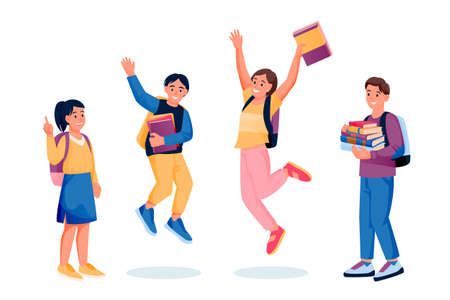 Jumping and dancing happy kids with books and backpacks. Back to school and education design elements, isolated on white background. Vector flat cartoon illustration of preschoolers boys and girls Ilustração