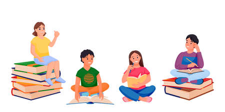 Kids reading books and sitting on book stacks. Back to school and education design elements, isolated on white background. Learning preschool boys and girls. Vector flat cartoon children illustration