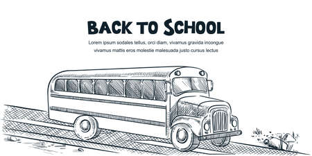 Back to school poster, banner design template. Vector hand drawn sketch illustration of school bus isolated on white background