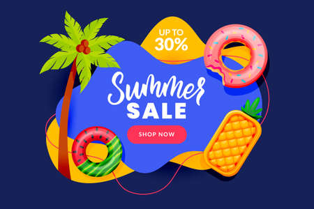 Summer sale abstract banner design template. Inflatable floating funny toys and palm tree, vector flat cartoon illustration. Season discount poster. Hand drawn calligraphy lettering on blue background 向量圖像