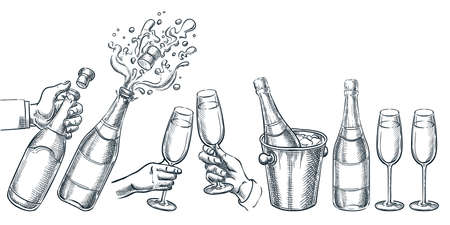 Champagne vector hand drawn sketch illustration. Human hand holding explosion champagne bottle and drinking glass. Holiday alcohol set, isolated on white background