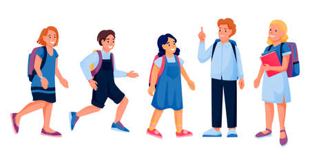 Running and standing school children with books and backpacks. Vector flat cartoon illustration of preschoolers boys, girls. Back to school education design elements. Kids isolated on white background