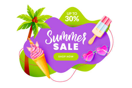 Summer sale abstract banner design template. Unicorn ice cream, pink heart sunglasses, palm tree vector illustration. Season discount poster. Hand drawn calligraphy lettering on purple background Ilustração