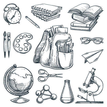 School supplies and education design elements, isolated on white background. Hand drawn sketch vector illustration. Backpack, books, notebooks, microscope, globe doodle icons