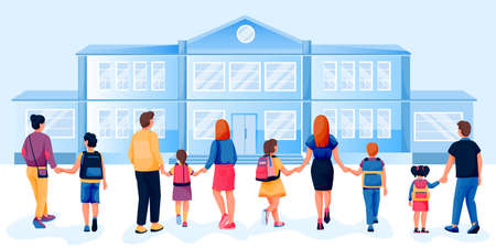 Back to school concept. Parents walk with their children by the hand to school, back view. Vector flat cartoon illustration