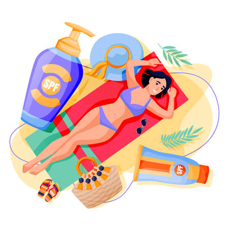 Summer face and body solar protection care concept. Young beautiful woman sunbathing on sand beach with sunblock. Vector flat cartoon illustration of girl with sunscreen cosmetics packaging